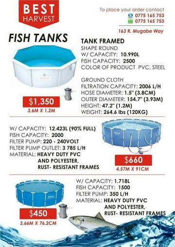 Fish Farming Tanks for sale - Agri Universe Zimbabwe
